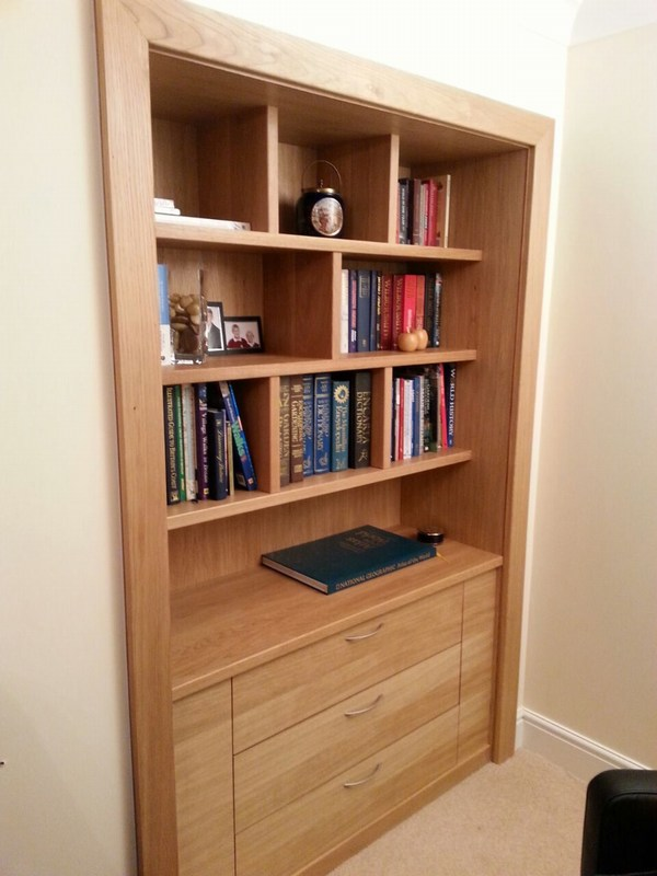 Bespoke unit in Felsted, Essex. American White Oak, shelves 30mm solid....all finished in hardwax oil